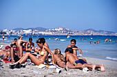 Young people on the beach, Bora Bora Beach Disco, Club, Playa d'en Bossa, Ibiza, Spain