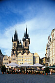 View of Old Town Square with Tyn Church, Prague, Czechia, Europe