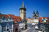 Town Hall and Old Town Square with Tyn Church, Prague, Czechia, Europe