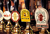 Taps at Sherlock Holmes Pub, Northumberland Street, The Strand, London, England, Great Britain,      Europe