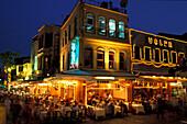 Fish restaurants in the evening, Kumkapi, Istanbul, Turkey