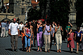 Tourists, Charles Bridge, Prague Czechia