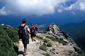 Hikers on the mountain Monte Capanne, Isle of Elba, Tuscany, Italy, Europe
