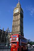 Double decker bus in front of Big Ben, London, England, Great Britain, Europe