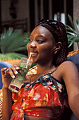 Young woman with Mojito Drink at the Hotel Florida, Havana, Cuba, Caribbean, America