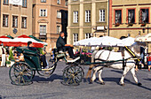 Horse drawn carriage at the market square, Warsaw, Poland, Europe