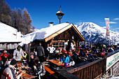 People at the Obstlerhuette, Apres Ski, Soelden, Oetztal, Tyrol, Austria