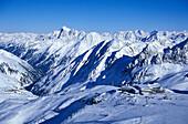 Eisgrat Panorama Restaurant and Winter mountain landscape, Stubaital Glacier, Tyrol, Austria