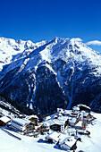 Ski resort Hochsoelden, Winter mountain landscape, Oetztal, Tyrol, Austria