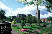 View of a park and St. Patrick' s Cathedral, Dublin, Ireland, Europe