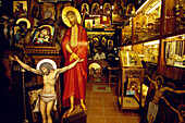 Shop selling Greek Orthodox devotional icons, Plaka, Athens, Greece