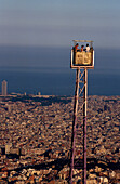 Panoramic View of Barcelona, View towards Barcelona, overlooking Observatori Fabri, Ferris Wheel in Tibidabo Amusement Park, Barcelona, Catalonia, Spain