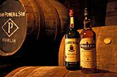 Two whiskey bottles next to barrels, Jameson Destillery, Midleton, Co. Cork, Ireland