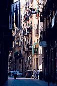 Narrow Street Barcelona, Narrow street in the Raval, Barri Xino, Barcelona, Catalonia, Spain