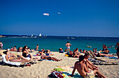 Beach Platja Barceloneta, Airplane Promotion, Beach Platja Barceloneta in Barcelona, Catalonia, Spain