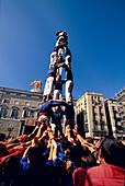 Festa de la Merce Barcelona, Castellers, human tower, Placa St. Jaume, Festa de la Merce, Barcelona, Catalonia, Spain