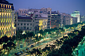 Passeig de Gracia at night, View from above, Barcelona, Catalonia, Spain