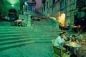 Restaurant Street Cafe Girona, Restaurant in Old Jewish Quarter, El Call, Girona, Costa Brava, Catalonia, Spain