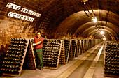 Man turning bottles in a wine cellar, Cava Cellar methode champenoise, Codorniu, Sant Sadurni d'Anola, Catalonia, Spain