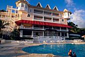 Facade, Pool, Hotel Gran Bahia, Facade of Hotel Gran Bahia with its pool in the front Samana, Samana Peninsula, Dominican Republic
