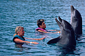 Women swimming with dolphins in a show at Ocean World, Playa Cofresi, Puerto Plata, Dominican Republic, Caribbean