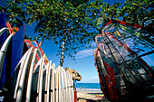 Surf Boards, Beach, Line, Boards lined up in a Surf School on the beach of Cabarete, Dominican Republic