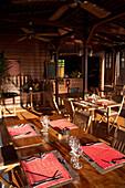 Dinner Room, Prepared, Empty, Empty dinner room at Hotel Le Jardin Malanga, Trois Rivieres, Basse-Terre, Guadeloupe, Caribbean Sea, America