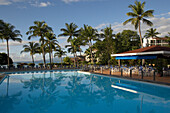 Empty Pool, Palm Trees, Pool in front of Hotel Creole Beach, Basse-Terre, Guadeloupe, Caribbean Sea, America