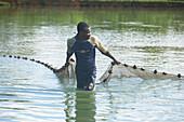 Fishing, Net, Man, Fishing on premisis of Rum Distillery Domaine de Severin, Sainte-Rose