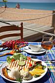 Grilled bream in Le Karacoli Restaurant, Grande-Anse, Deshaies, Basse-Terre, Guadeloupe, Caribbean Sea, America