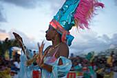 Woman, Beauty, Dancing, Girl dancing at the Carnival, Le Moule, Grande-Terre, Guadeloupe, Caribbean Sea, America