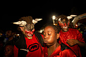 Night, Blurred Motion, Carnival, Le Moule, Disguised as monsters at the Carnival, Grande-Terre, Guadeloupe, Caribbean Sea, America
