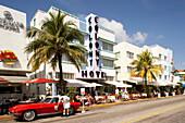 Classic car at Ocean Drive, South Beach, Miami, Florida, USA, America