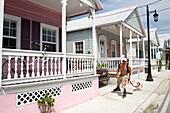 Row of pastel coloured houses, Key West, Florida Keys, Florida, USA