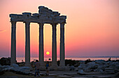 Apollon Tempel in the red light of evening, Side, Turkish Riviera, Turkey