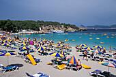 Sandy beach and bay, Cala Bassa, Sant Antoni, Ibiza, Balaeric Islands, Spain