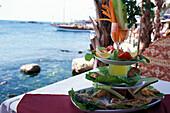 Fischplatte, Hafenrestaurant Side Tuerkische Riviera, Tuerkei