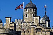 Detail of the Tower of London with flag, London, Great Britain, Europe