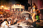 Dancer on the stage, Foamparty, Open Air Disco, Halikarnas, Bodrum, Turkey