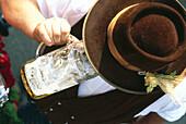 Drayman drinking a liter of beer , Oktoberfest, Munich