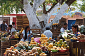 Fruit stalls at the market, Oxkutzcab market, Yucatan, Mexico