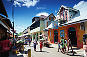 Street setting, People walking along the Market Street in Victoria, Mahé Island, Seychelles