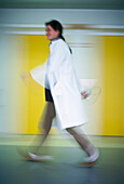 Female doctor walking down the corridor, Health, Hospital
