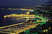 Beleuchtete Hafenstadt bei Nacht, Menton, Cap Martin, Cote d´Azur, Alpes Maritimes Provence, Frankreich, Europa
