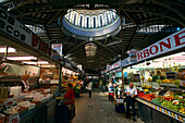 Market hall with fruit and vegetable stalls, Mercado Central, Valencia, Spain