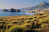 Playa del Penon Blanco, La Isleta del Moro, village, Cabo de Gata, Natural park, Province of Almeria Andalusia, Spain