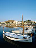Village view with port, Fornells, Menorca, Minorca, Balearic Islands, Mediterranean Sea, Spain