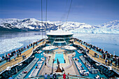 Cruis ship, Cruiser Rhapsody of the Sea, near Hubbard Glacier, Glacier Bay, Alaska, USA