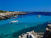 Sailing boats in the bay, Cala de Binisafúller, Minorca, Spain