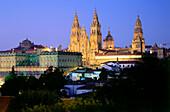 Townscape with Cathedral, Santiago de Compostela, Pilgrims destination, Province of La Coruna, Galicia, Spain